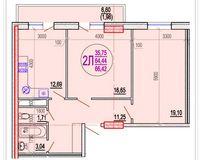 2 комнатная квартира 66,42 кв. м