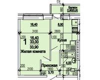 1 комнатная квартира 33,90 кв.м