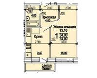1 комнатная квартира 34,90 кв.м