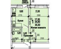 1 комнатная квартира 35,50 кв.м