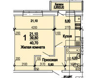 1 комнатная квартира 40,70 кв.м
