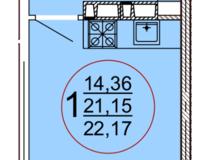 Студия 22,17 кв. м
