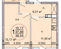 1 комнатная квартира 39,55 кв. м