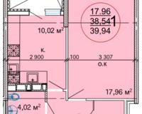 1 комнатная квартира 39,94 кв. м