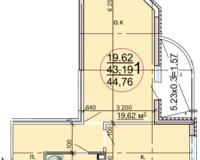 1 комнатная квартира 44,76 кв. м