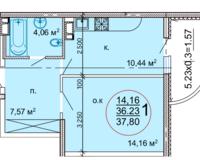 1 комнатная квартира 37,80 кв. м