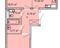 2 комнатная квартира 62,09 кв. м