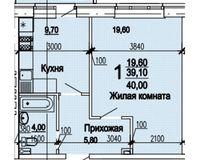 1 комнатная квартира 40 кв. м