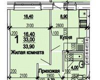 1 комнатная квартира 33,90 кв. м