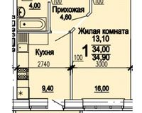 1 комнатная квартира 34,90 кв. м