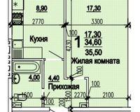 1 комнатная квартира 35,50 кв. м