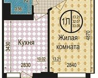 1 комнатная квартира 33,09 кв. м