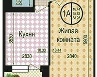 1 комнатная квартира 38.28 кв. м