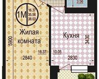 1 комнатная квартира 38,3 кв. м