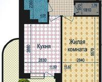 1 комнатная квартира 47,51 кв. м