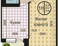 1 комнатная квартира 37,88 кв. м