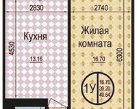 1 комнатная квартира 40,64 кв. м
