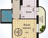1 комнатная квартира 40,77 кв. м