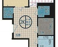 2 комнатная квартира 68,53 кв. м