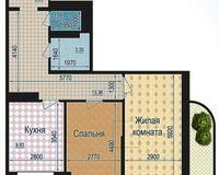 2 комнатная квартира 66,69 кв. м