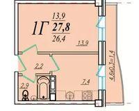 1 комнатная квартира 27,8 кв. м
