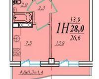 1 комнатная квартира 28 кв. м