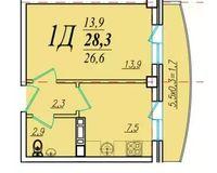 1 комнатная квартира 28,3 кв. м