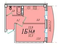 1 комнатная квартира 34 кв. м