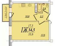 1 комнатная квартира 34,5 кв. м