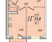 1 комнатная квартира 35 кв. м