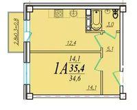 1 комнатная квартира 35,4 кв. м