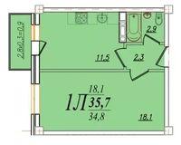 1 комнатная квартира 35,7 кв. м