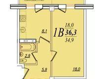 1 комнатная квартира 36,3 кв. м