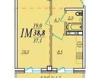 1 комнатная квартира 38,8 кв. м