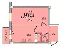 1 комнатная квартира 39,8 кв. м