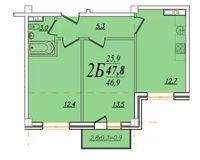 2 комнатная квартира 47,8 кв. м