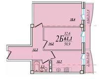 2 комнатная квартира 61,1 кв. м