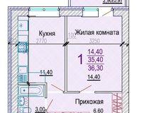 1 комнатная квартира 36,3 кв.м