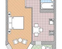 1 комнатная квартира 32,6 кв. м