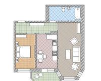 2 комнатная квартира 55,3 кв. м