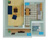 1 комнатная квартира 38,5 кв. м