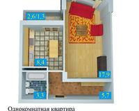 1 комнатная квартира  36,6 кв. м