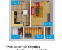 1 комнатная квартира 37, 55 кв. м