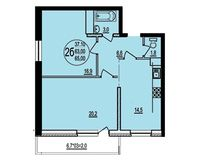 2 комнатная квартира 65 кв. м