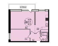 2 комнатная квартира 56,70 кв. м