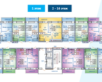 БС 1, этажи 2-16
