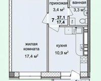 1-комнатная квартира 37.1 кв. м