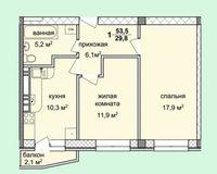 2-комнатная квартира 53.5 кв. м