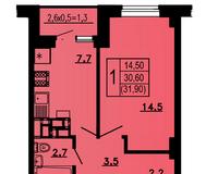 1-комнатная квартира 31,9 кв.м