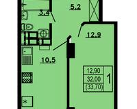 1-комнатная квартира 33,7 кв.м